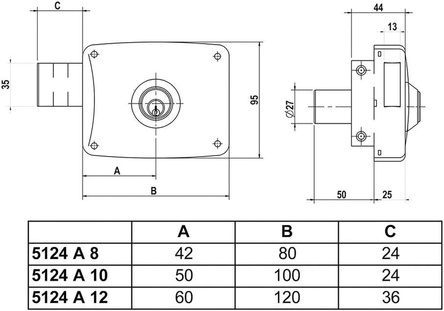 Oro Lince 3017200 Cerradura 5124-ap//120 Derecha