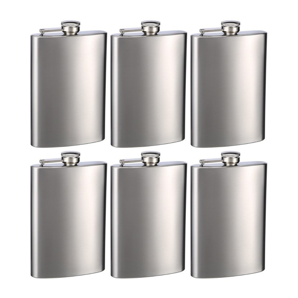 Top Shelf Flasks Stainless Steel Hip Flasks, 8 oz, Set of 6