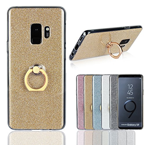 Galaxy S9 Plus Case,Gostyle Samsung Galaxy S9 Plus Bling Glitter Clear Ultra Slim Cover,Soft TPU Silicone with Ring Holder Anti-Scratch Shockproof Protective Cover for Samsung Galaxy S9 Plus,Golden