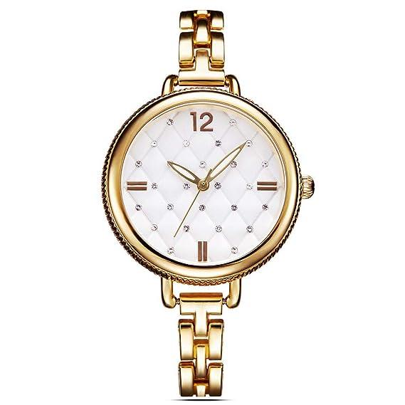 Simple Aleación Diamante de imitación Mujeres Analógico Relojes de Pulsera, Oro: Amazon.es: Relojes