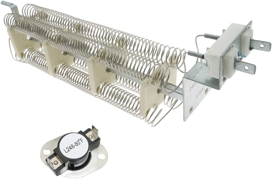 LA1044 LA-1044 Dryer Heating Element with High Limit Thermostat L248-80 Compatible with Whirlpool Magic Chef AP4242494 PS2162280