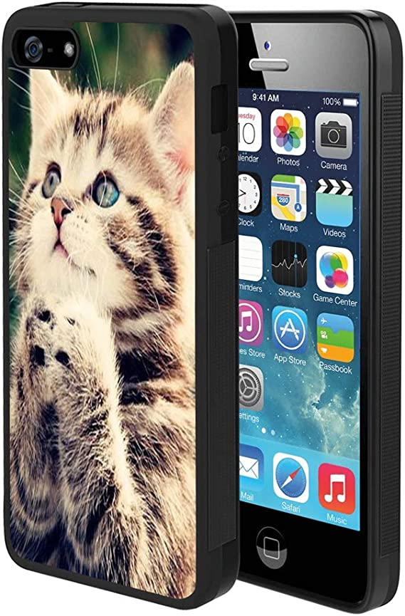 Amazon Com Pingge Iphone 5 Iphone 5s Iphone Se Case Cute Cat Rectangle Full Body Shockproof Protective Case Black Frame Case For Iphone 5 5s Se