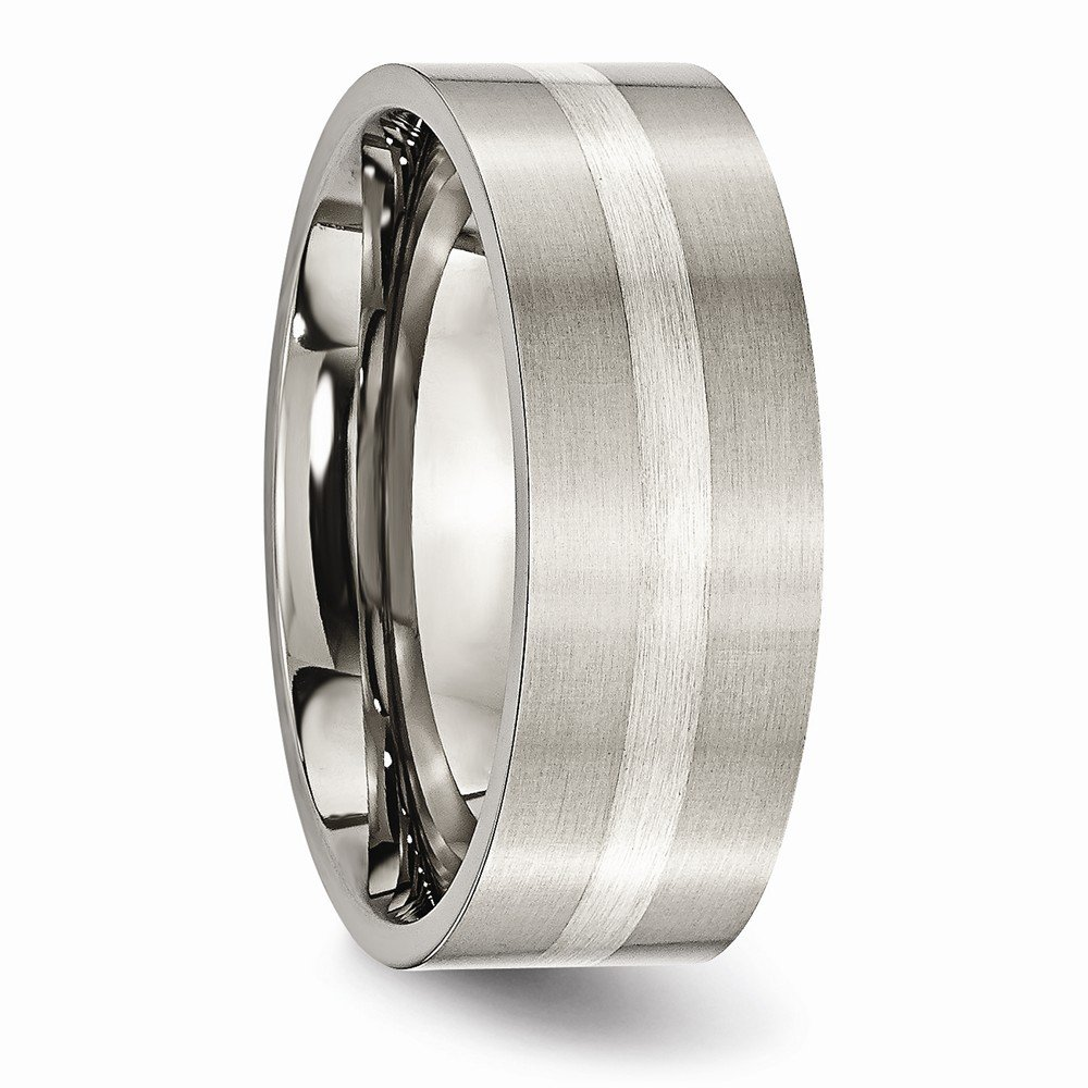 Jewels By Lux Titanium Sterling Silver Inlay Flat 8mm Brushed Band