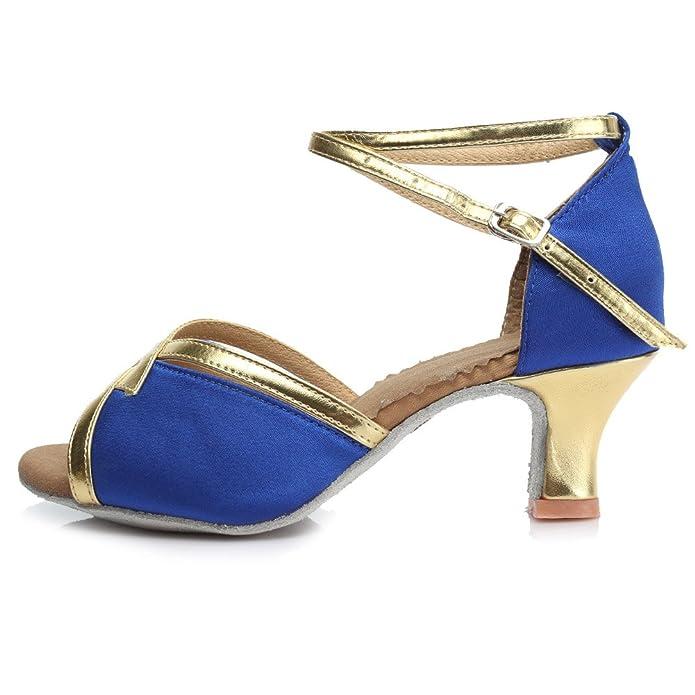 SWDZM Mujer Zapatos de baile/estándar de Zapatos de baile latino Satén Ballroom modelo-ES-225 Azul 39 EU UI03BEAa7