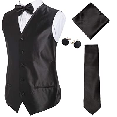 Alizeal Mens Classic 5pc Solid Color Satin Suit Vest Set at Amazon Men's Clothing store