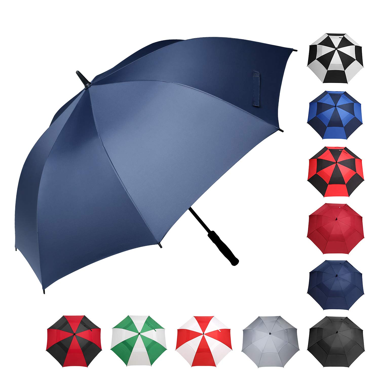 BAGAIL Golf Umbrella 68/62/58 Inch Large Oversize Windproof Waterproof Automatic Open Stick Umbrellas for Men and Women(Navy,58 inch) by BAGAIL