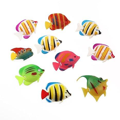 rosenice flotante de plástico pescado pescado 10pcs Artificial Adorno de movimiento de peces decoración para acuario
