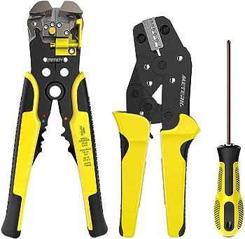 Meterk Carbon Steel Alloy Wire Stripper & Crimping Tool Set