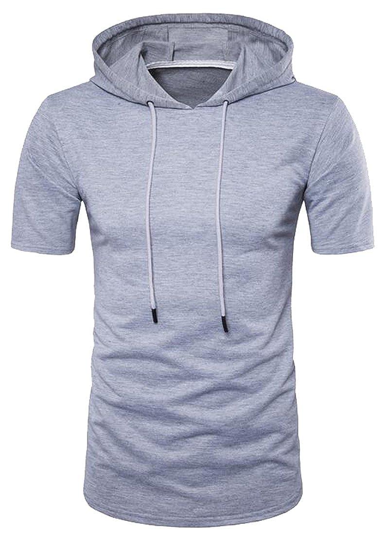 Oberora-Men Classic Hooded Short Sleeve Solid Zip Split Basic Hoodie T-Shirt Tee Top