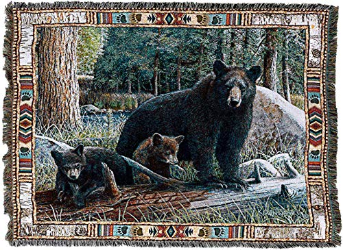 (Pure Country Weavers - New Discoveries Black Bear and Cubs Cabin Hunting Decor Woven Tapestry Throw Blanket with Fringe Cotton USA 72x54)