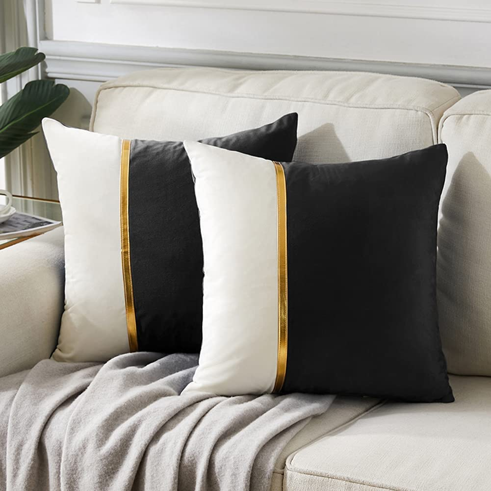 Fancy Homi 2 Packs Black Decorative Throw Pillow Covers 18x18 Inch for Living Room Couch Bed, Black and White Velvet Patchwork with Gold Leather, Luxury Modern Home Decor, Accent Cushion Case 45x45 cm