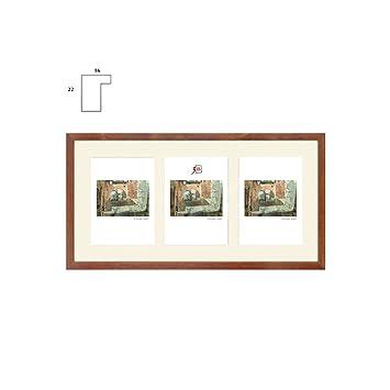 Bildergalerie Fotogalerie NANCY 25x50 Cm   Dunkel Braun   Bilderrahmen  Galerie Für 3 Fotos 13x18 Cm