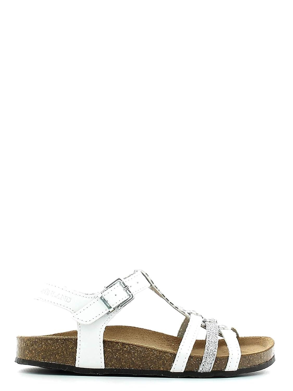 Sandalo Grünland bianco bambina regolabile con chiusura