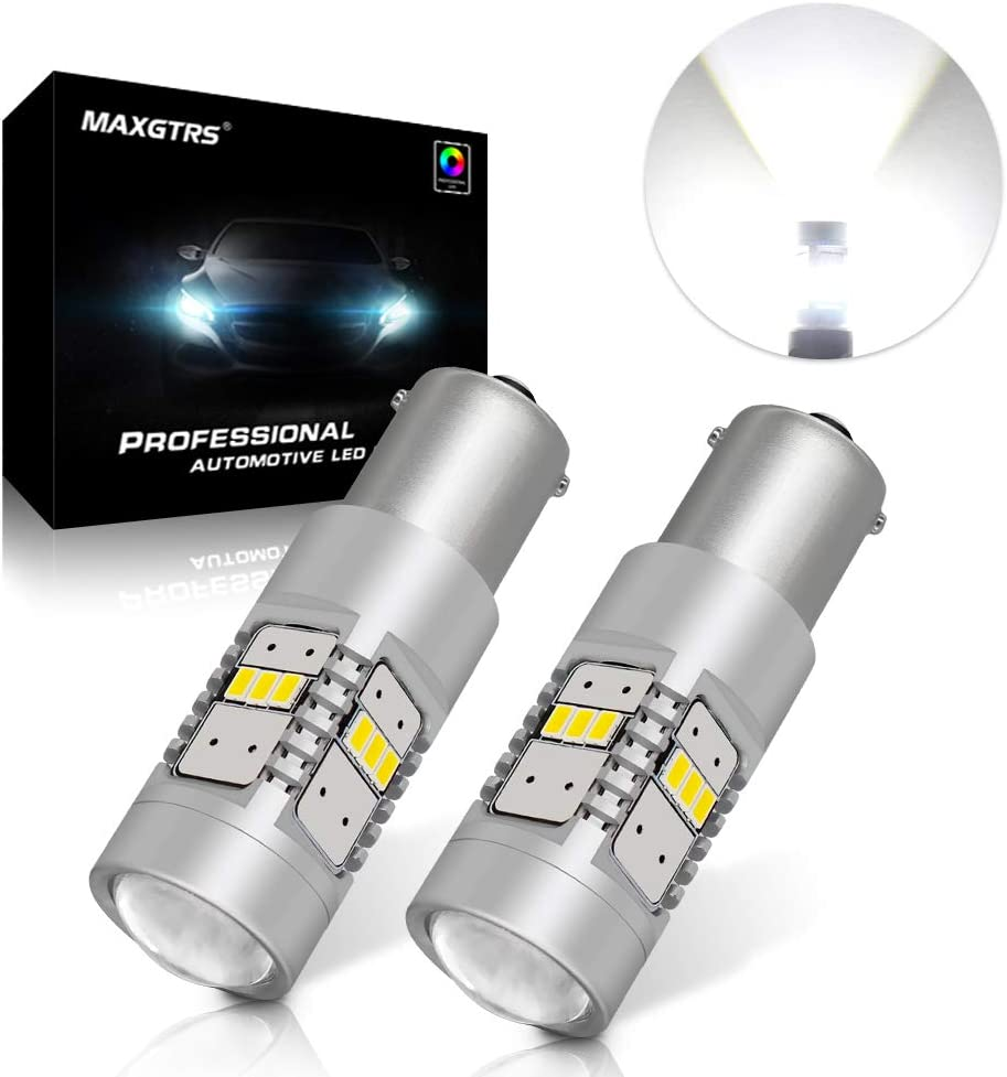 MAXGTRS BA15S P21W 1156 LED bulb 3020 Chip with Condenser Lens 6000K White for Signal Light and Turn light 900 Lumens