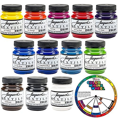 Jacquard Textile Color 12 Assorted Pigments Fabric Dye Airbrush Spray Paint - FREE Color Mixing Wheel