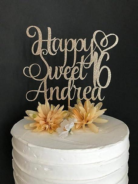 Decoración para tarta de 16 cumpleaños con texto en inglés ...