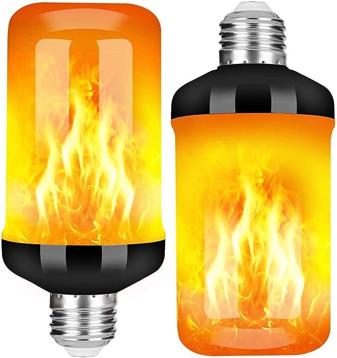 Weihnachten Garten E27 Flammen Lampe Flammen Effekt Gl/ühlampen Atmosph/äre LED mit 4 Beleuchtungs Modi Dekorative Retro Innengl/ühlampen im Freien f/ür Halloween FANIER Flamme Gl/ühbirne, 4 St/ück