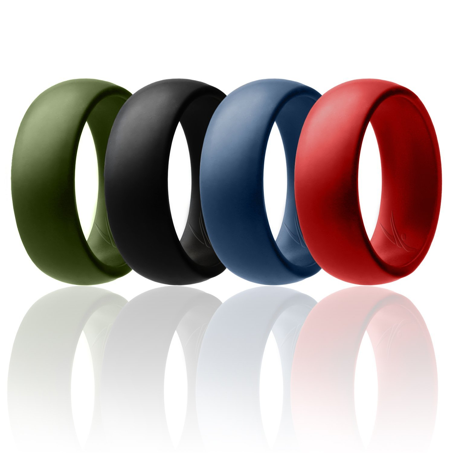ROQ Silicone Wedding Ring for Men Affordable Silicone Rubber Band, 4 Pack - Black, Blue, Red, Green - Size 12