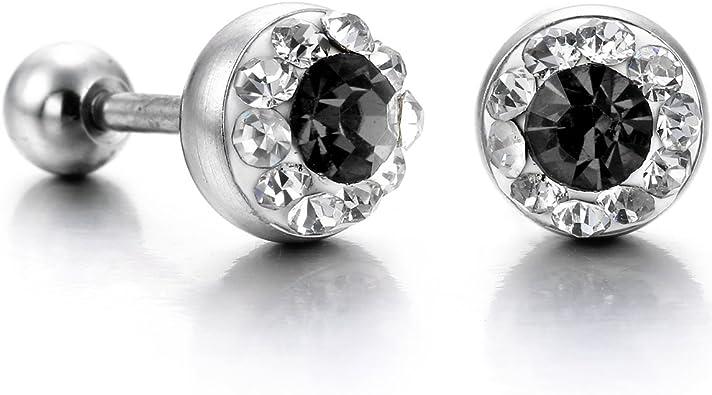 Boucles d/'Oreilles Acier Inox Clous Strass Diamant