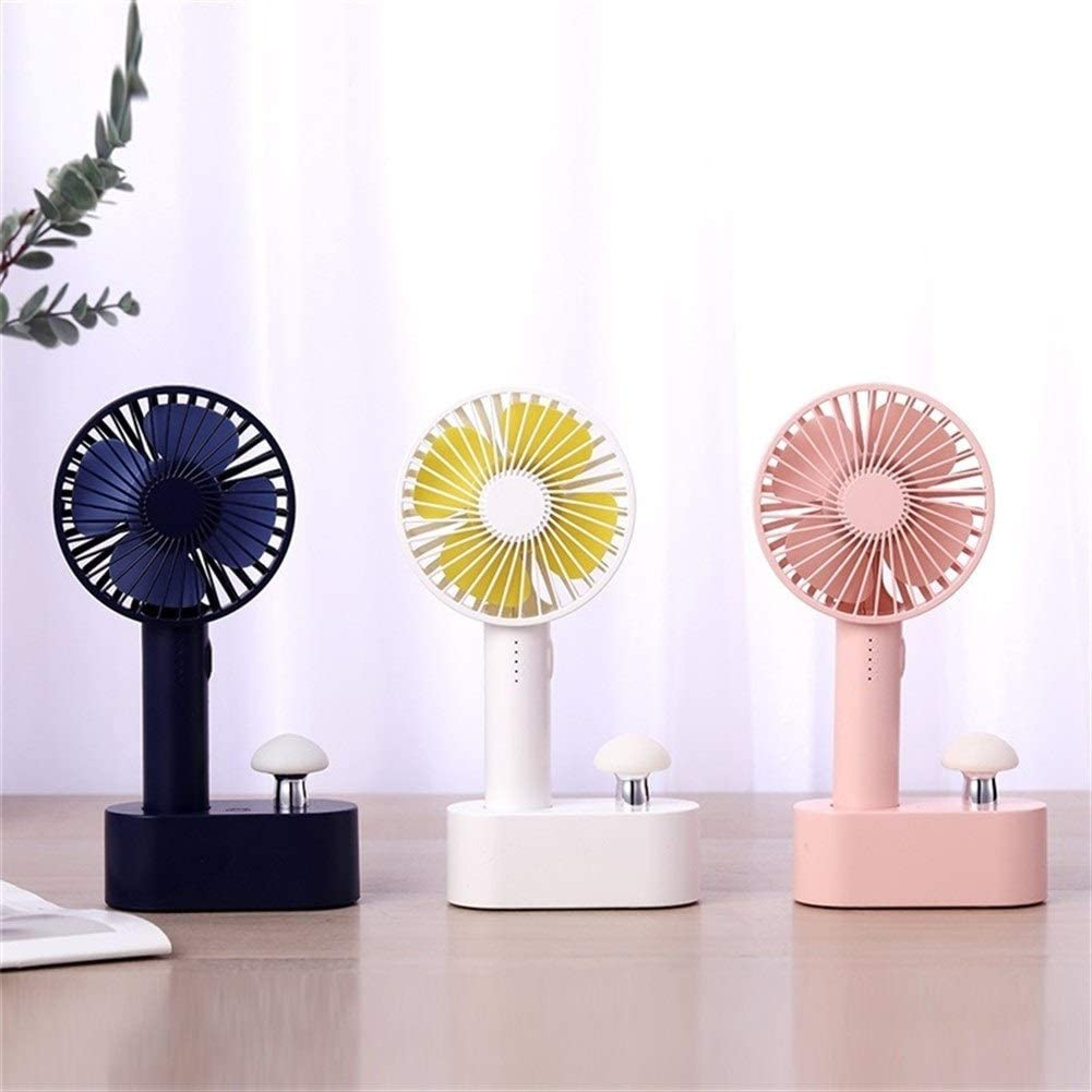 USB Fans Mushroom Light Portable Mini Fan 5 Speed Natural Wind USB Handheld Air Cooler Fan for Home for Home Office Color : Dark Blue Outdoor Travel