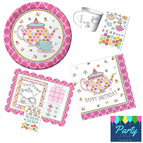 Girls Tea Party Set Birthday Party Supplies for 8 Guests Includes Paper Tea Cups, Activity Placemat, Dessert Plates, Dessert Napkins by PENP