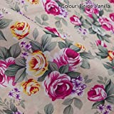 Neotrims Classic English Roses Print Floral Fabric in 5 Vivid Shades. Fat Quarters and By the Meter. Amazing Cheap Wholesale Price for Woven Materail. For Apparel, Crafts, Home Furhinshings, Curtains & Decoration. Patchwork Quilt Making!