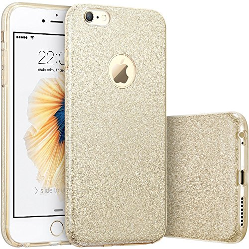Iphone Case Gold - iPhone 6s Case, Imikoko™ Fashion Luxury Protective Hybrid Beauty Crystal Rhinestone Sparkle Glitter Hard Diamond Case Cover For iPhone 6s/6 (Gold-3 Layer)