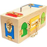 Montessori Materials Lock Set Lock and Key Tool sets 9 Locks Latch Unlock Box Set Tools Toys Early Educational Gift