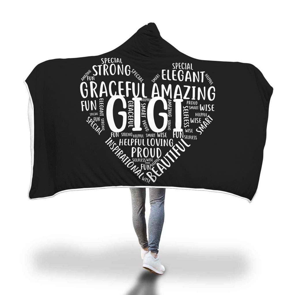Awesome Fun Stuff Gigi Hooded Blanket Sherpa Cloak Heart-Shaped Grandmother Appreciation Gift (Adult)