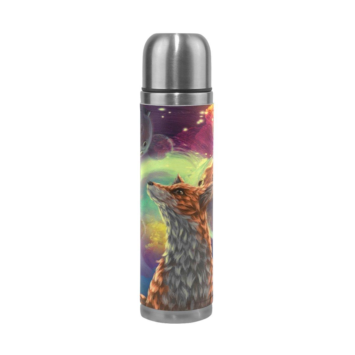 DragonSwordlinsu COOSUN Little Prince Fox - Botella Térmica de Acero Inoxidable con Aislamiento al Vacío, a Prueba de Fugas, Doble Botella de Vacío, Piel sintética, Taza Térmica de Viaje, 453 ML
