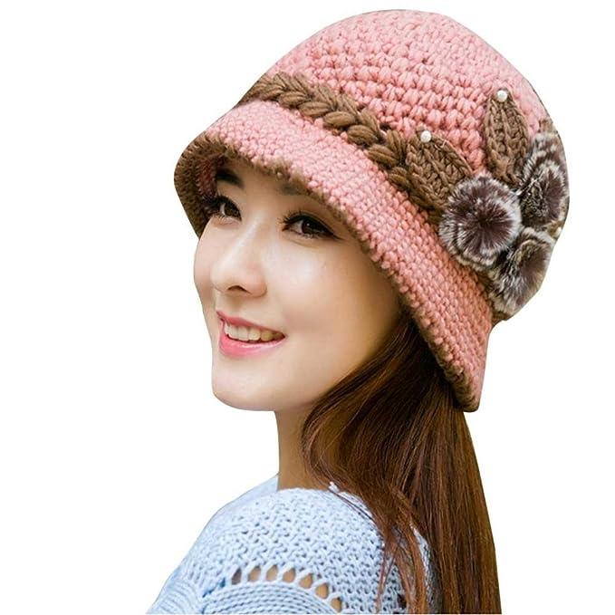eb977fedce9 Hunputa Women s Hat Winter Beret Cap Elegant Flower Knit Crochet Beanie Hat  Winter Warm Cap One Size Pink  Amazon.in  Clothing   Accessories