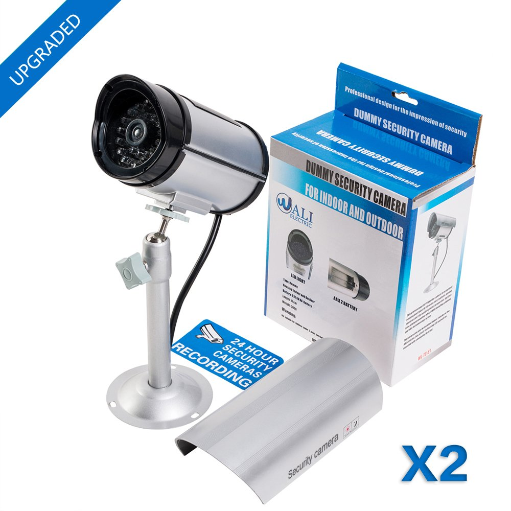 WALI Bullet Dummy Fake Surveillance Security CCTV Dome Camera Indoor Outdoor with one LED Light + Warning Security Alert Sticker Decals (TC-S2), 2 Packs, Silver by WALI (Image #1)