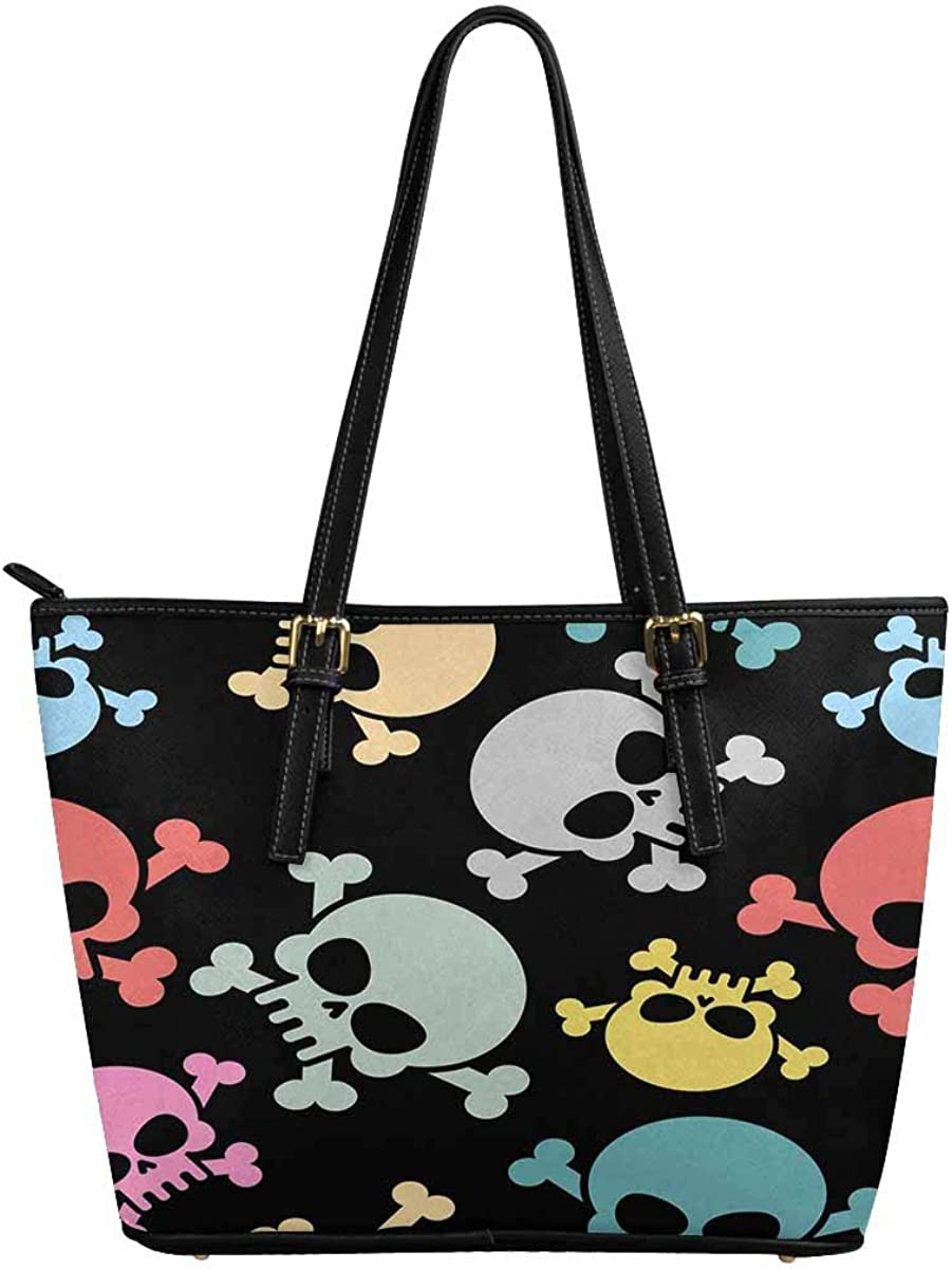 InterestPrint Custom PU Leather Totes Top Handle Casual Shoulder Bags Colored Skull
