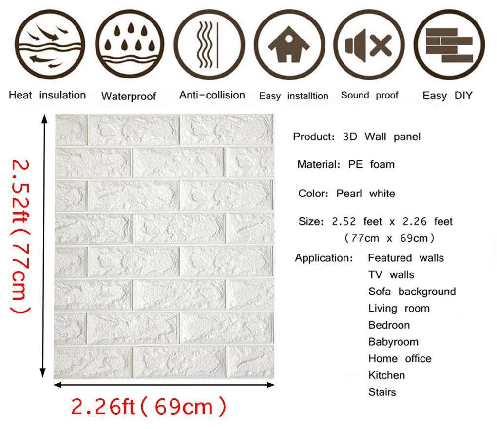 Arthome White Brick 3D Wall Panels Peel and Stick Wallpaper for Living Room Bedroom Background Wall Decoration 10 Pack, White 56.9 sq feet Arthome wall decor limited