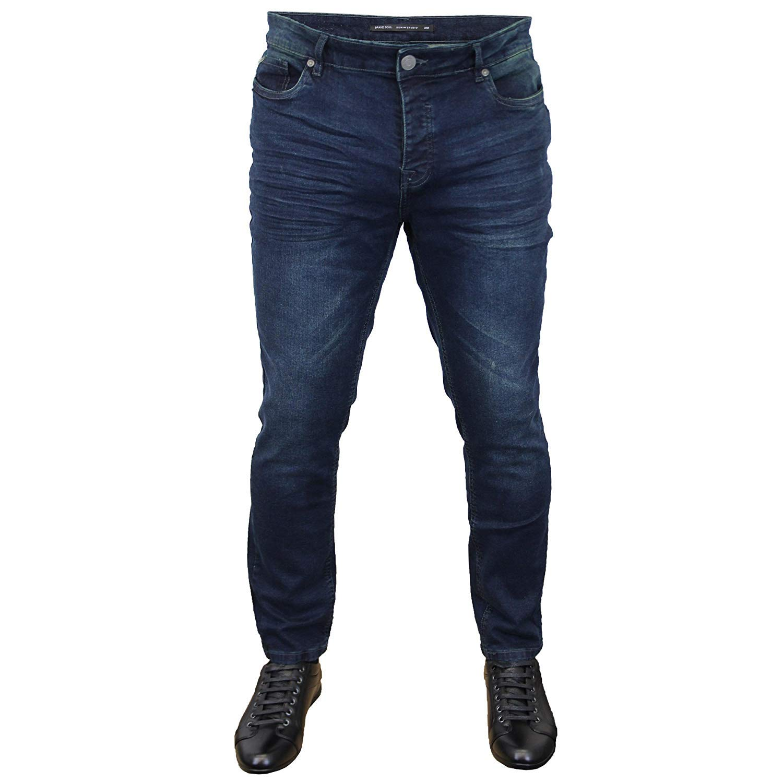 Brave Soul Mens Denim Jeans Ripped Slim Fit Lark Stretch Skinny Ibaka