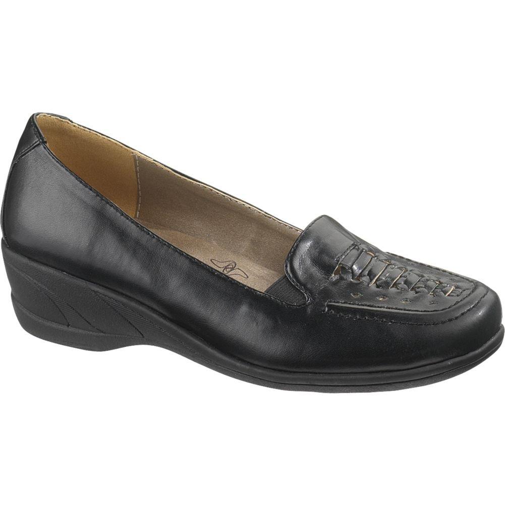 Soft Style Women's Haylee Wedge Loafers B005OADWF6 10 B(M) US Black Vitello