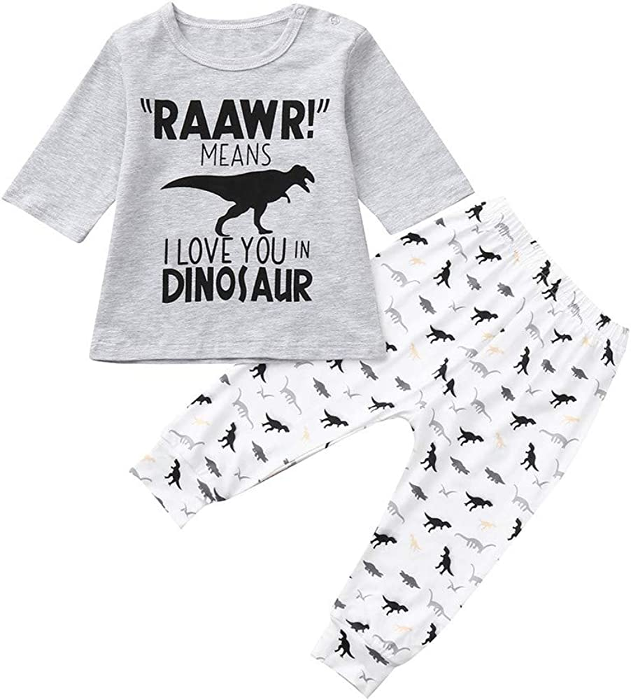 Age:0-12Months 80 Tronet Baby Boys Girls Letter Print T Shirt Tops+ Dinosaur Pants Infant Toddler Fashion Outfits Set , Gray