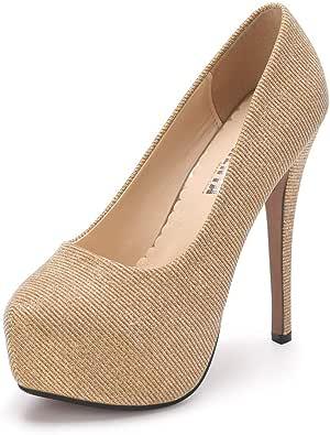 OCHENTA Zapatos de Vestir de Material Sintético para Mujer Zapatos con Tacon Alto para Mujer Plataforma