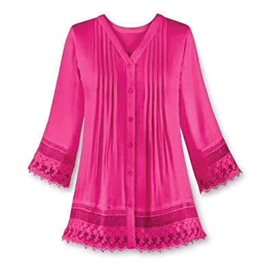 c7b17d4adc2 Collections Etc Women's Pintuck Lace Trim Button Down V-Neck Tunic,  Fuchsia, Medium