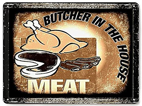 Amazon.com: BUTCHER Shop metal Sign Carne Shop Funny para ...