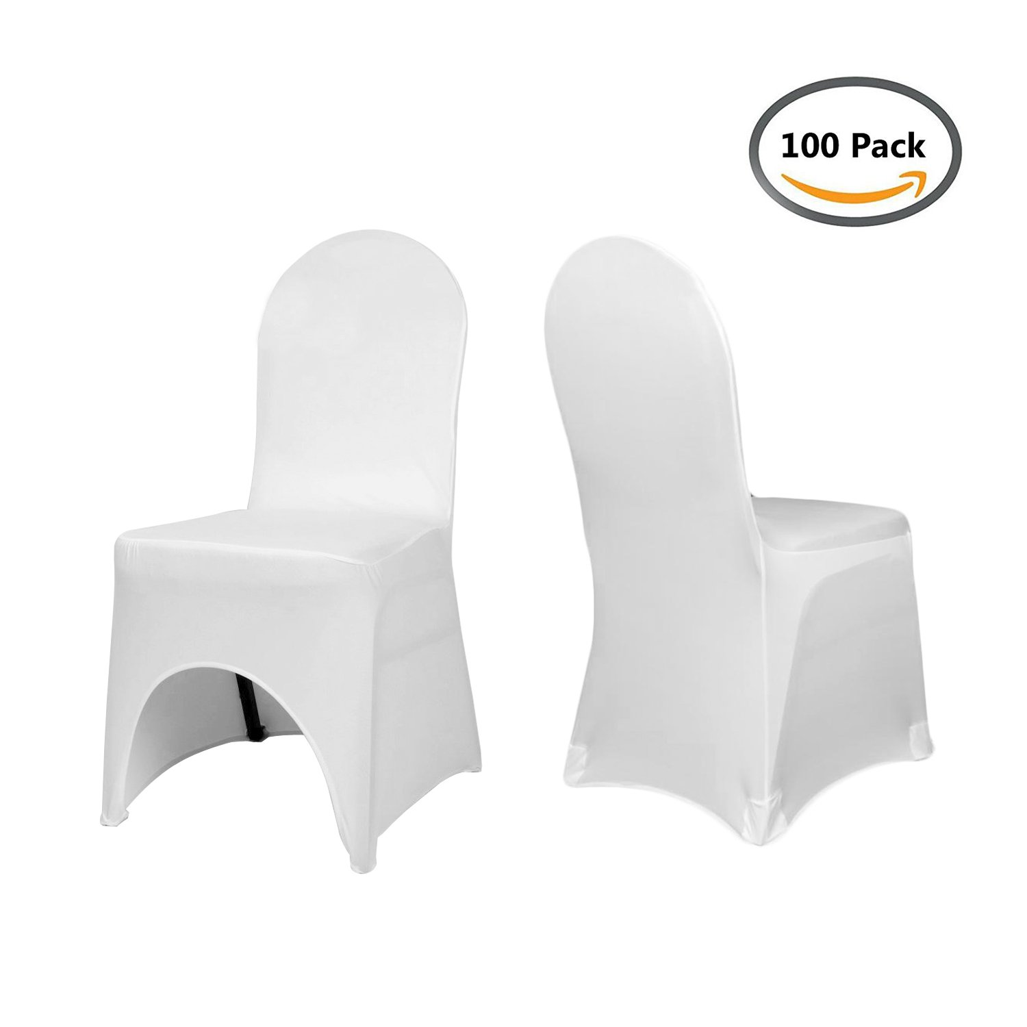 Homdox Universa 100pcs White Chair Covers Spandex/Lycra Metal & Plastic Folding Decoration For Wedding, Banquet, Party by Homdox