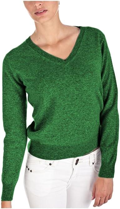 Parisbonbon Womens 100/% Cashmere V-Neck Sweater Dresses