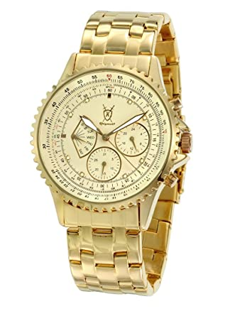 Konigswerk Mens Gold Tone Watch Multifunction Day Date IP Plated Bracelet and Large Dial K66GG