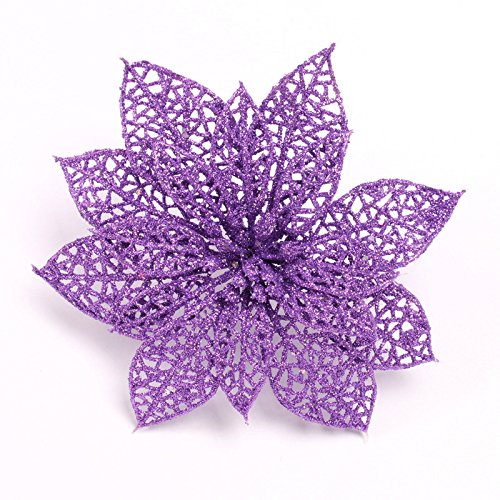 Crazy Night (Pack of 10) Glitter Purple Poinsettia Christmas Tree