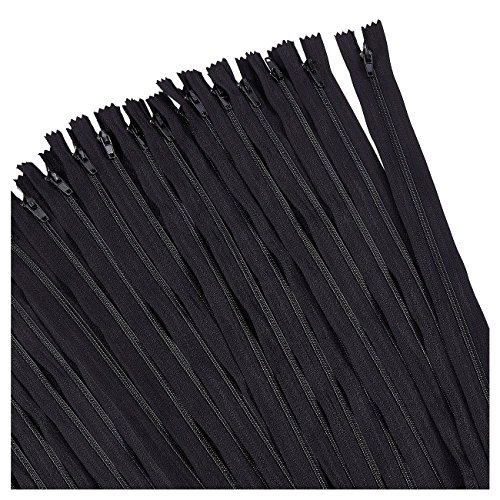 Nylon Coil Zipper - 50-Pack 24-Inch Zippers, Non-Separating All-Purpose Zippers for Tailor Sewing Crafts, Replacement, Black