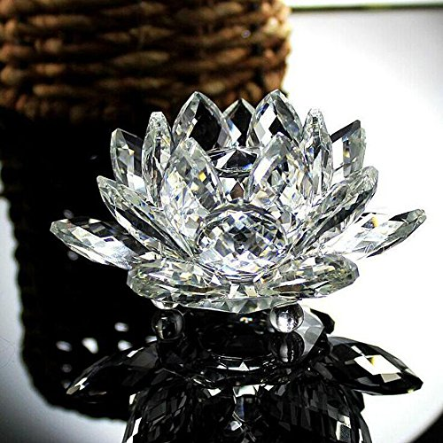 Lotus Crystal, Sparkle Crystal Rainbow Lotus Flower Glass Figure Paperweight Ornament Feng Shui Decor Collection for Feng Shui Home Decor Home Decoration (White)