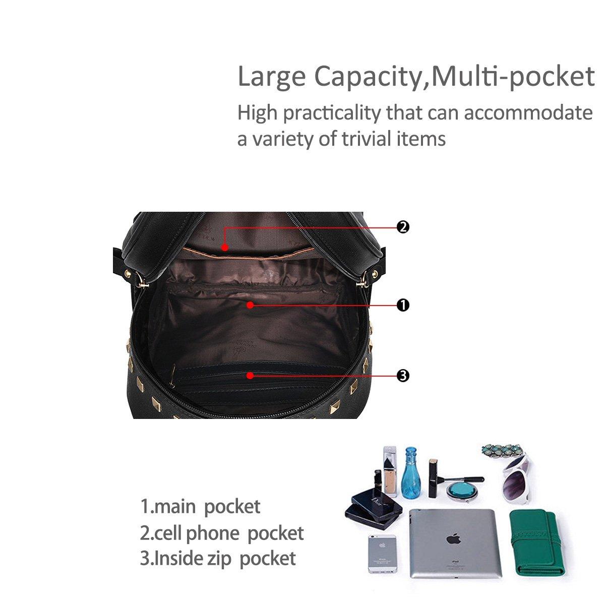 Nicole/&Doris New School Taschen Rucksack Frauen Handtaschen Reisetasche Satchel Metall Mode PU-Leder