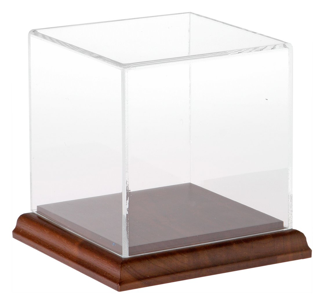 Plymor Brand Clear Acrylic Display Case with Hardwood Base, 4'' x 4'' x 4''