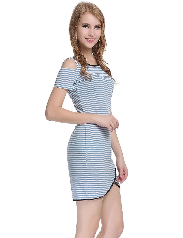JXStar Damen Kalte Schulter Ausschnitte Slit Strecken Streifen Pullover Kleid