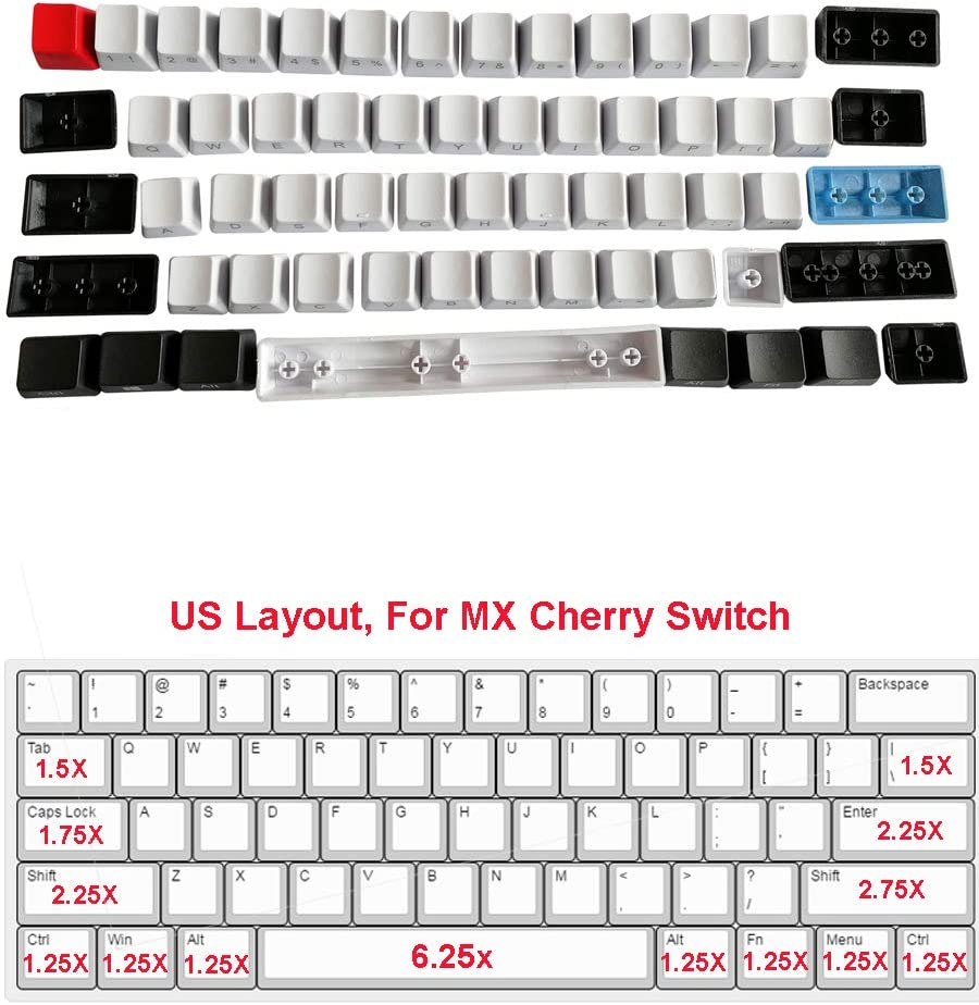 Feicuan 61 Teclas Keycaps ANSI Layout Perfil OEM Grueso PBT Keycaps Set para 60% Teclado mecánico (Sin Teclado) -Side Print